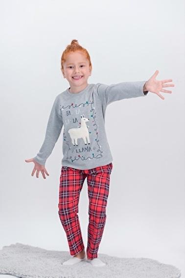 Arnetta  La La Lama Ekose Grimelanj Kız Çocuk Pijama Takımı Yeni Yıl Özel Gri